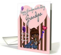 Grandpa, Grandparents Day Card - Cute Little Girl card (660207)