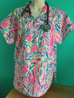 nurses scrub top/ Lilly Pulitzer/ made to by CreationsbyPetra