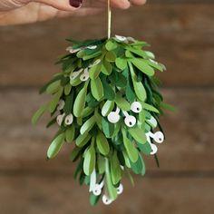 Who isn't dreaming of a kiss under the mistletoe this holiday season. Make this DIY Paper Mistletoe kissing ball.