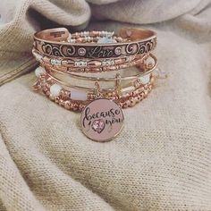 ALEX AND ANI Valentines Day 2017 Collection   Love Cuff Bracelet   Because I Love You Set of 3