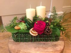 Christmas Candle Arrangement Candle Arrangements, Christmas Candle, Bespoke Design, Amber, Cow, Candles, Crafty, Table Decorations, School