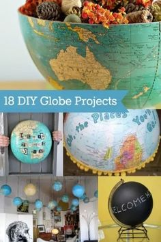 Do you love globes or are you always finding them in thrift stores? Here are 18 DIY globe projects that you'll love – great home decor inspiration! New Project Ideas, Diy Projects To Try, Craft Projects, Map Crafts, Diy And Crafts, Globe Crafts, Globe Projects, Diy Inspiration, Diy Décoration