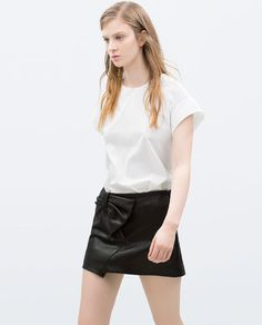 FAUX LEATHER TIE SKIRT