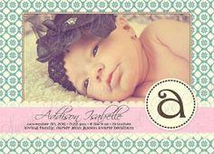 Monogram Shabby Chic Birth Announcement- Custom Printable on Etsy, $15.00