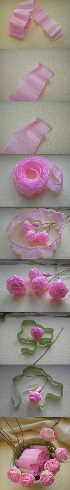 rosas de papel crepé