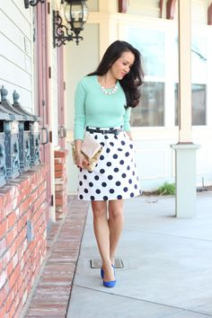 Black and white Polka dot skirt. Mint blouse. dont like the blue heels thou..