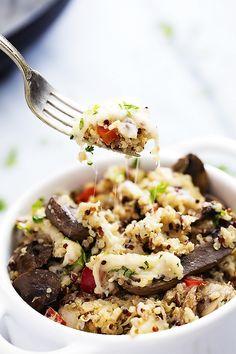 Slow Cooker Cheesy Mushroom Quinoa | Creme de la Crumb