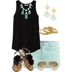 Sandals teal shorts outfit, mint shoes outfit, colored shorts outfits, cute s Mint Shoes Outfit, Colored Shorts Outfits, Mint Shorts, Black Shorts Outfit Summer, Mint Jeans, Color Shorts, Look Fashion, Fashion Outfits, Dream Closets