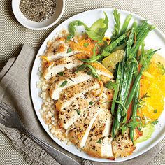 Chicken Paillard with Citrus Salad and Couscous | Israeli couscous is also sometimes labeled pearl couscous.