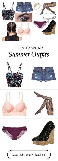 """Paris' Outfit."" by caitlin-ingalls on Polyvore featuring Wolford, Current/Elliott and Victoria's Secret"
