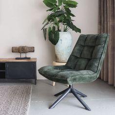 Vintage Draaifauteuil Crawler Velours Groen   Oosterbaan Living Zen, Velvet Shop, Barcelona Chair, Floor Chair, Lifestyle, Lounge, Comfy, Flooring, Vintage