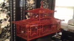 Antique Vintage Oriental Japanese Carved Wooden Bird Cage Florentine Porcelin #Asian #handmade