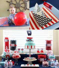 """Repinned from Nautical Pirate Birthday Party: Ahoy mateys! A blue and red """"sweets bar"""" with color-coordinating candies, cupcakes, and a pirate birthday cake are a must have for a nautical pirate birthday party.  Source: Pink Piggy Design"""