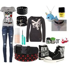 emo/scene outfit of the day :D I love how this is emo/ scene style but cute at the same time