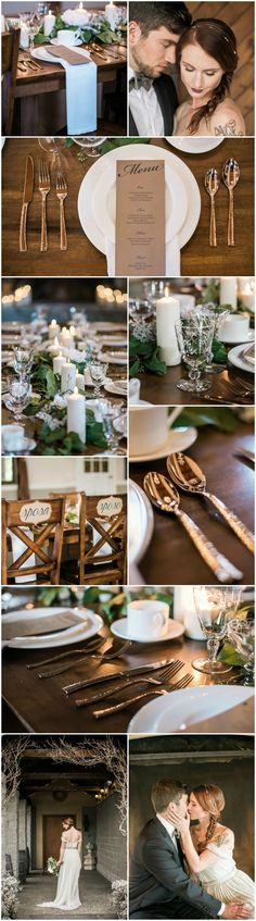 Winter wedding, copper flatware, farm tables, crystal goblets, brown kraft paper menu, Italian chair backs, white place settings, minimalist chic // B. Jones Photography
