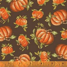 One Yard Let Us Give Thanks - Pumpkins in Brown - Cotton Quilt Fabric - by Kate McRostie for Windham Fabrics (W2179)