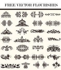Free Vector Flourishes   C-T Designs