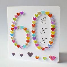 Handmade Card - Birthday Card, Sixty, Sixtieth Card, Personalised Age 60 Personalized Sister Mum Dad Name 60th Birthday Cards For Ladies, Handmade Birthday Cards, 70th Birthday, 60 Birthday Card, Happy Birthday, Diamond Wedding Anniversary Cards, 60th Anniversary, Wedding Card, Homemade Cards