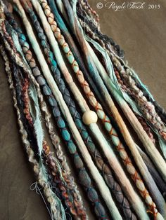 10 Custom Clip In or Braid In Dreadlock Extensions Color Mix: Mixed Native & Sand Boho Tie-Dye Wool Synthetic Dreads Hair Wraps and Beads, '' style'' Dreadlock Extensions, Professional Hair Extensions, Leave In, Dreadlock Hairstyles, Clips, Color Mixing, Natural Hair Styles, Synthetic Dreadlocks, Relaxed Hairstyles