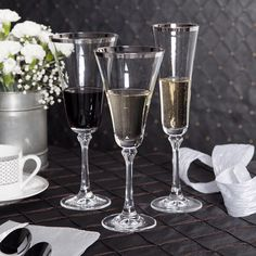 Style and class, in a glass. Now, our Charlotte princess glassware comes with gold or platinum bands- perfect for a glam #wedding .