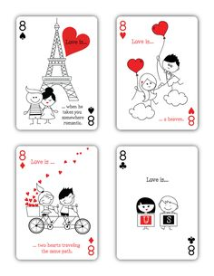 """Natalia Silva is raising funds for """"Love is."""" Playing Cards (Canceled) on Kickstarter!"""" is a beautiful deck of playing cards inspired by Love. Diy Playing Cards, Custom Playing Cards, Printable Playing Cards, Printable Stickers, Cute Stickers, Stick Figure Drawing, Love Doodles, Romantic Cards, Valentines Diy"""