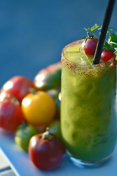 Bloody Mary~Use heirloom green tomatoes (Green Zebra, Evergreen, Green Grape, etc.) to make a more verdant version of a classic Bloody Mary