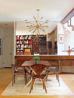 Sputnik Chandelier | Mid Century Modern Home in Delaware | via Old-House Online