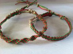 Red/Green Hemp Bracelet #hemp #hemp-jewelry #red-and-green #redgreen #secret-santa