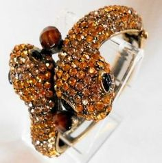 """BLING Snake Heads Cuff Bracelet with Yellow & Gold Rhinestone Crystals appx 7"""" Around Blue Skies Plus. $29.99"""