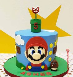 50 Most Beautiful looking Mario Cake Design that you can make or get it made on the coming birthday. Bolo Do Mario, Bolo Super Mario, Mario Bros., Mario Birthday Cake, Super Mario Birthday, Super Mario Party, 5th Birthday, Mario Bros Cake, Mario Kart Cake