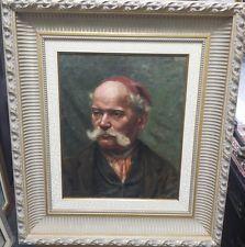 ANT ITALIAN LISTED ARTIST MARCELLO GIACHINO 1877-1929 MEN SIGNED 1898 OIL W COA
