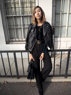 Velvet Lace Up Body Suit Street Style || Gucci Belt || Unconscious Style @shhtephs