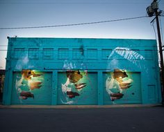 "Askew TMD MSK ""A finished photo of my collaboration with @drewmerritt on the outside of @thecontaineryard in Downtown LA. Big thanks to Tola, Nicole & Princess for  for allowing us to paint you! The result of our collaboration is definitely something different - we stripped back the patterns and Drew focused his work into the sections where they overlap the eyes, cheeks & mouth. It was a difficult surface but I think we made it work & managed to pull it all together cohesively. 10/7/15"