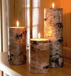 White birch candle holders,candle holders,log candle holders,rustic candle holders,pallet wood candle holders,set of 3 by WOODSCRAPPERSART on Etsy https://www.etsy.com/listing/235009373/white-birch-candle-holderscandle