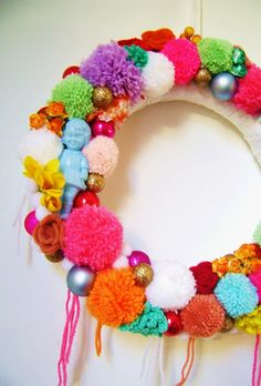 Candy pom pom wreath by silly old suitcase