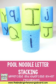 Simple, DIY pool noodle letter activities to use in your classroom for alphabet recognition, letter recognition and abc order! Kindergarten First Week, Kindergarten Literacy Stations, Kindergarten Smorgasboard, Kindergarten Reading, Kindergarten Classroom, Water Games For Kids, Indoor Activities For Kids, Summer Activities, Letter Activities
