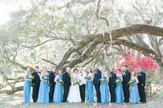 French Blue Bridesmaid Dresses + Black Tuxes | Romantic Garden Wedding at Magnolia Plantation | Dana Cubbage Weddings | Charleston SC Wedding Photography