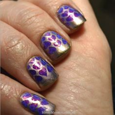 Valentines Day Hearts. Nail Stamping with plate  MM03 this would look cool in lime green