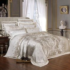 "HOT PRICES FROM ALI - Buy ""Sliver Golden Luxury Satin Jacquard bedding sets Embroidery bed set double queen king size duvet cover bed sheet set pillowcase"" from category ""Home & Garden"" for only USD. King Size Duvet Covers, Queen Bedding Sets, Luxury Bedding Sets, Comforter Sets, Duvet Cover Sets, Comforter Cover, Luxury Sheets, Linen Comforter, Bed Sheet Sets"