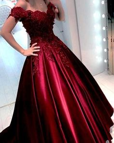 Burgundy prom dress - off shoulder ball gowns lace Prom Dresses, long Straps Long party Gown, Satin Long Evening Dress, Backless Formal Dresses – Burgundy prom dress Off Shoulder Ball Gown, Off Shoulder Evening Dress, Shoulder Straps, Long Party Gowns, Wedding Party Dresses, Formal Wedding, Prom Party, Wedding Lehnga, Maroon Wedding
