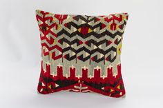 Vintage, wool hand woven Kilim pillow - Bohemian Cushion 16'' x 16'' (40 cm x 40 cm)