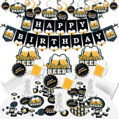 Beer Birthday Party, Birthday Cheers, Happy Birthday Parties, 40th Birthday, Birthday Ideas, Beer Centerpieces, Birthday Centerpieces, Beer Party Decorations, Birthday Supplies