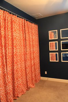 fabulous idea from Kyle at Knight Moves ~ duvet covers as closet doors, or window coverings, or...