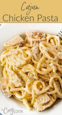 Easy Chicken Dinner Recipes, Chicken Pasta Recipes, Pork Recipes, Easy Meals, Cooking Recipes, Recipes Dinner, Creamy Cajun Chicken Pasta, Dinner Ideas, Creamy Pasta