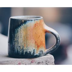 A particularly stunning yellow #espresso cup out of the last soda firing. This #glaze starts to ...
