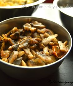 spicy mushroom masala recipe - a quick low calorie sabzi .Good for rice or roti ..