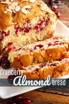 Cranberry Bread with Cream Cheese Swirl This Cranberry Almond Bread with Cream Cheese Swirl is like Christmas in a loaf pan. Super easy to make (no yeast needed) and is absolutely delicious! Quick Bread Recipes, Baking Recipes, Dessert Recipes, Desserts, Cake Recipes, Loaf Recipes, Pumpkin Recipes, Cranberry Bread, Cranberry Almond