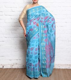 Blue Valkalam Silk Saree With Zari Work #indianroots #ethnicwear #saree #silk #zariwork