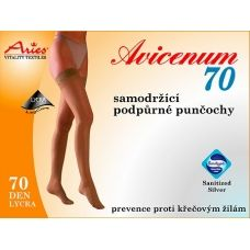 Aries Avicenum 70 DEN support stockings with lace for big & tall. 70 DEN support stockings with self-holding lace provide support and improve bloodcirculation. Positive effect against the formation of varicose veins and cellulite. AVICENUM 70prevents intermittent swelling, such as prolonged standing or sitting. Antimicrobial SanitizedSilver finish with active silver ions prevents the reproduction of microorganisms.  Buy on ACTIVtights.com