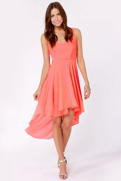 Cute Neon Coral Dress - Cutout Dress - High-Low Dress - Backless Dress